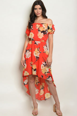 Hot in Hi-Lo Dress - Red Floral
