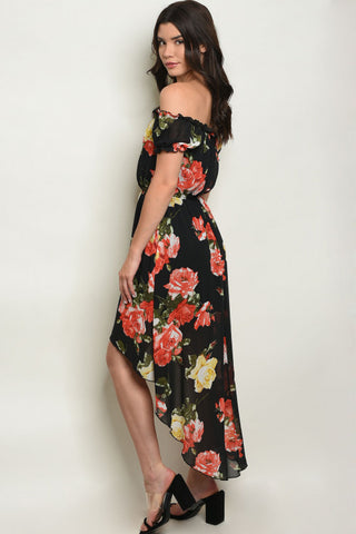 Hot in Hi-Lo Dress - Black Floral