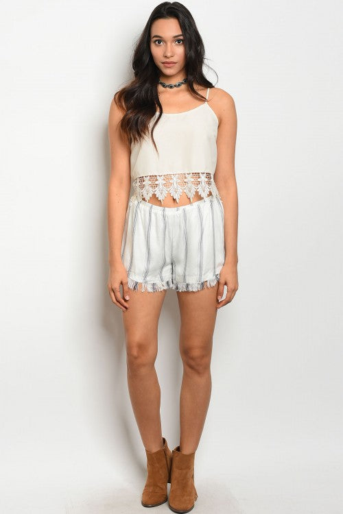 Ivory-Charcoal Striped Shorts
