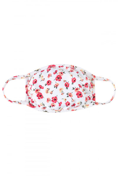 Ivory and Floral Print Reusable Face Mask