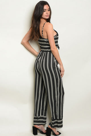 Bold in Black and White Stripes Jumpsuit