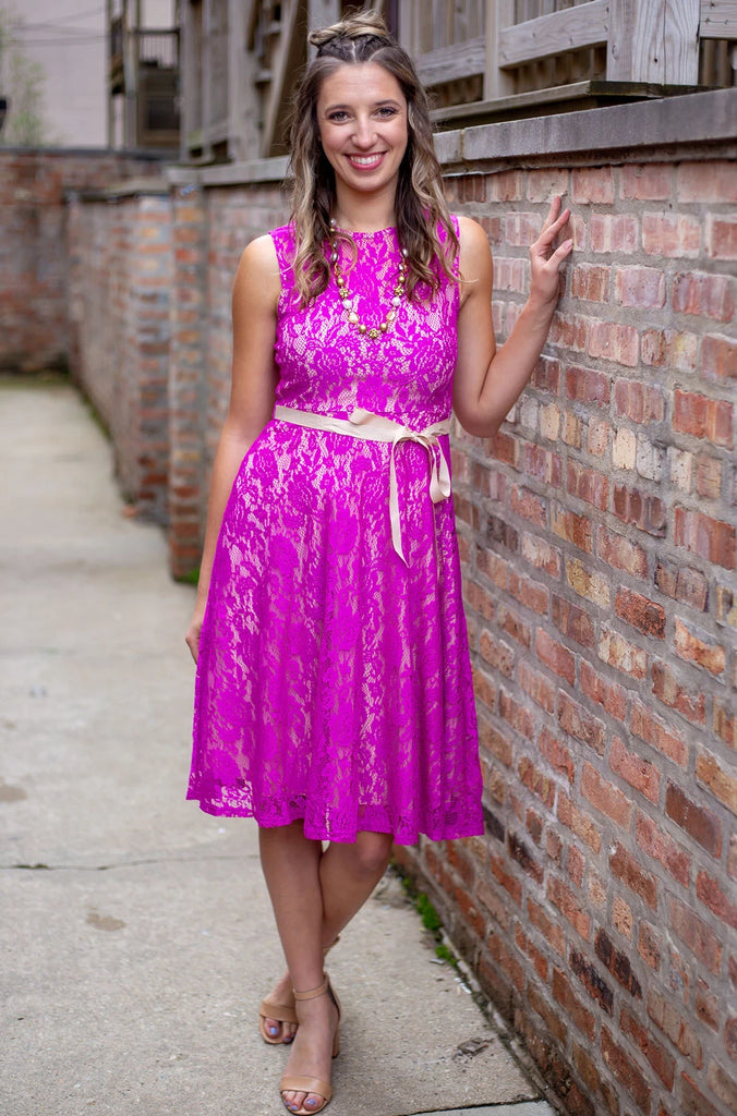 Fuchsia Lace-Overlay Shift Dress