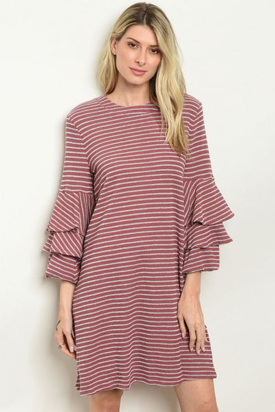 Mauve Striped Ruffle Dress