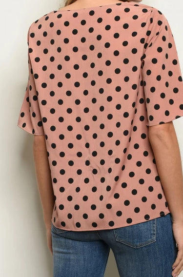 Why Knot Mauve N Dots Top
