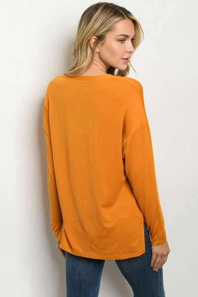 Mustard Long Sleeve Top back view