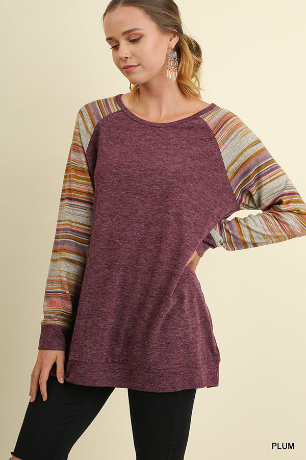 Raglan Striped Sleeve Top