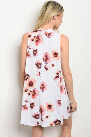 Mock Neck White Florals Shift Dress
