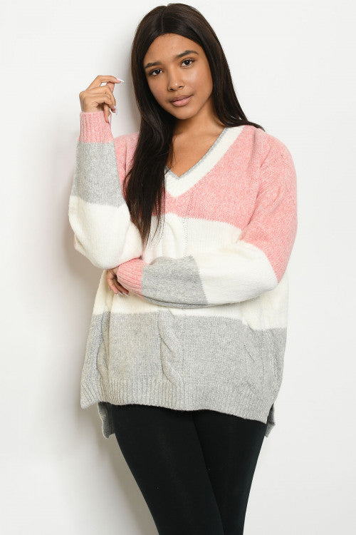 Cozy Colorblock Sweater - Pink and Ivory