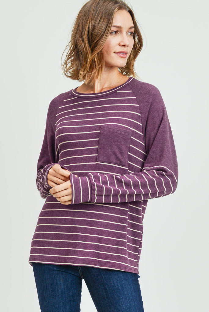 plum striped long sleeve top