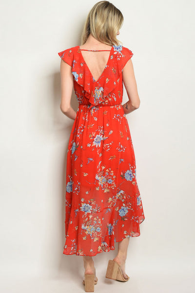 Wrapped in Red Florals Dress - Back view