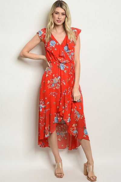 Wrapped in Red Florals Dress