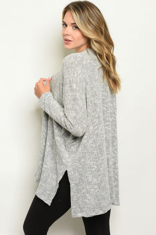 Ribbed Grey Cardigan