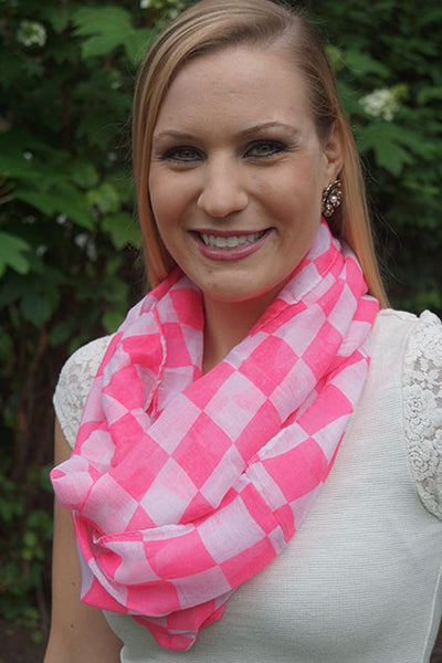 Neon Pink Checkered Scarf