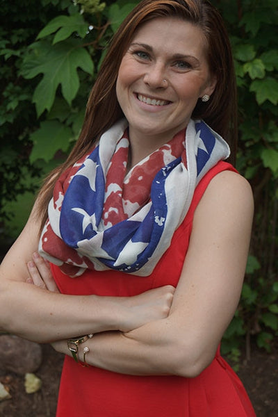 Rustic American Flag Infinity Scarf