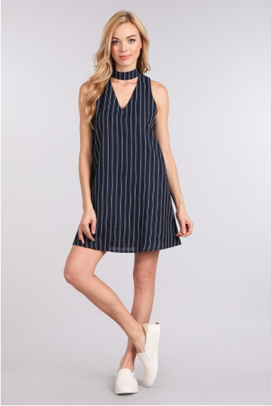 Haltered Neck Striped Dress