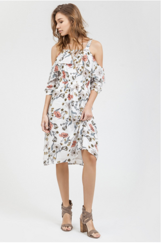 Caught Off Guard Cold Shoulder Dress