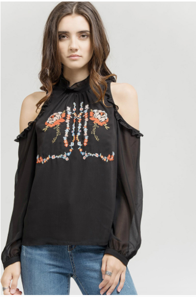 Flirtatious in Floral Embroidered Top