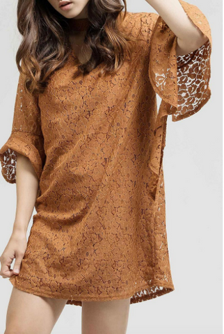 Pumpkin Spice Lace Dress