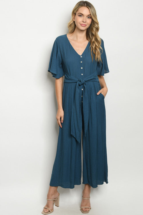 Button Blue Jumpsuit