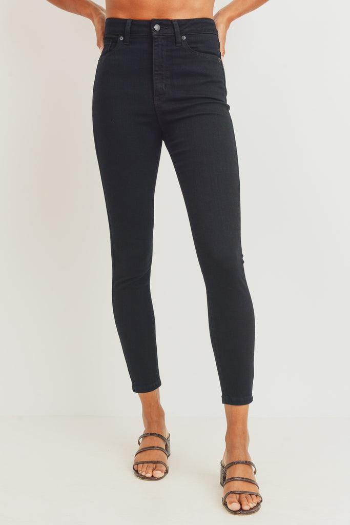 high rise skinny black jean