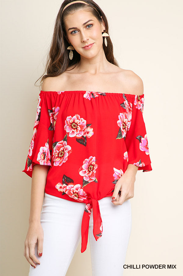 Fun in Floral Red Top