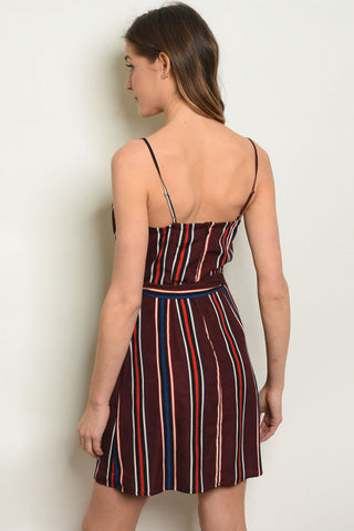 Wine Stripes Dress