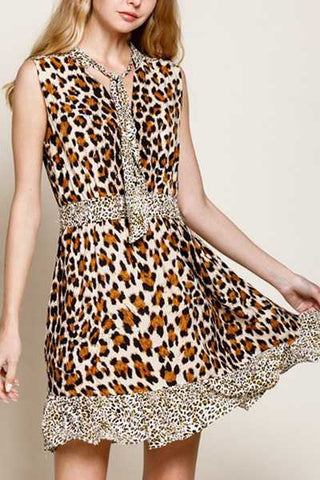 leopard brown sleeveless dress