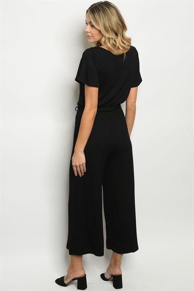 Scoop neck black jumpsuit