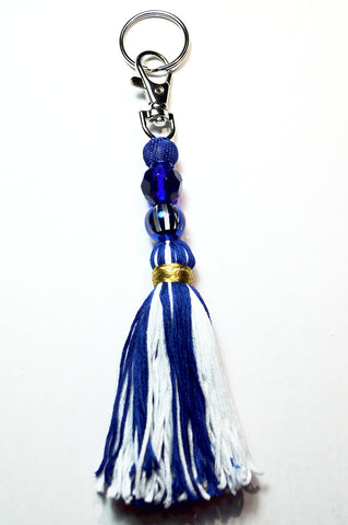 Blue and White Fringe Tassel Keychain/Zipper Pull/Purse Pull-Tassel