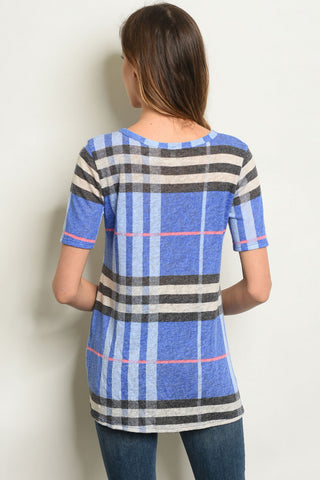 Blue Me Away Plaid Top