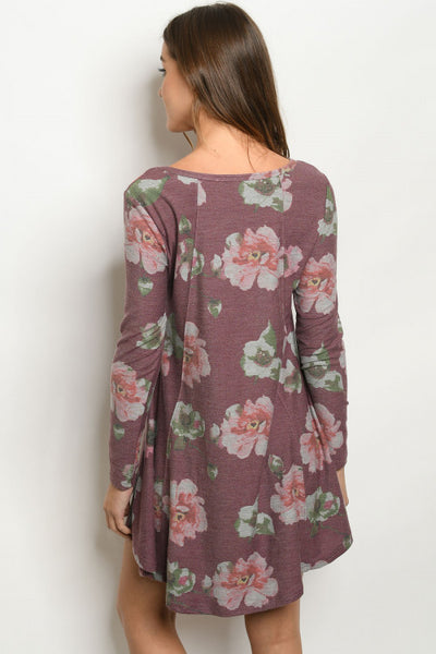 fall flowers burgandy long sleeve dress