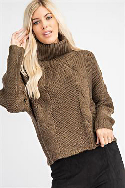 Classic Olive Turtleneck Sweater
