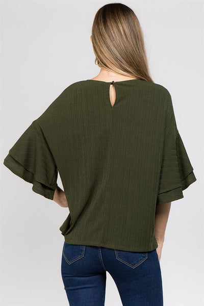 olive bell and ruffles top