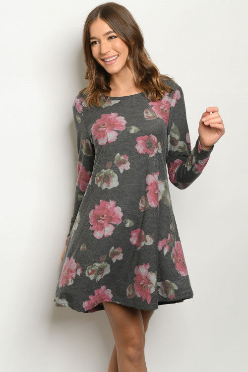 charcoal lon sleeve flower dress