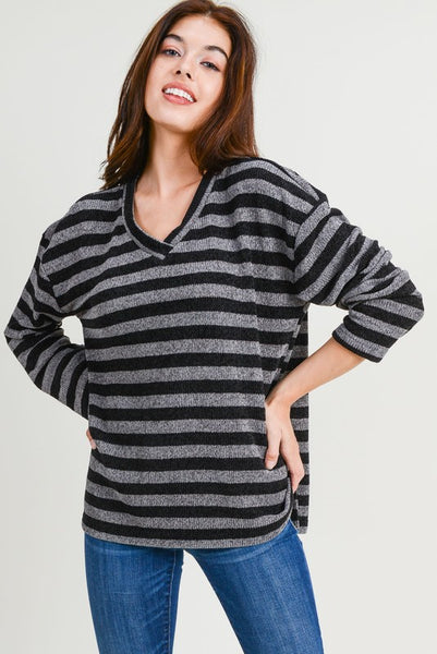 charcoal black and grey striped sweater