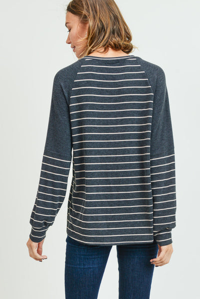 Charming Charcoal Striped Top
