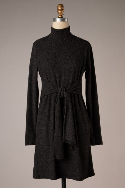 knot dress high neck long sleeve