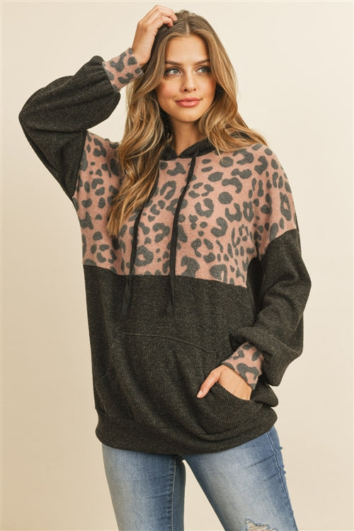Leopard Hooded Charcoal Top