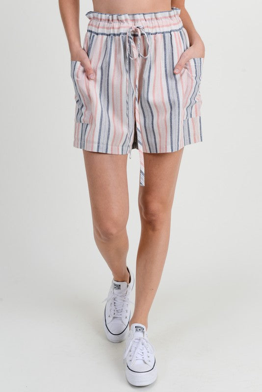 Pink and Navy Striped Shorts
