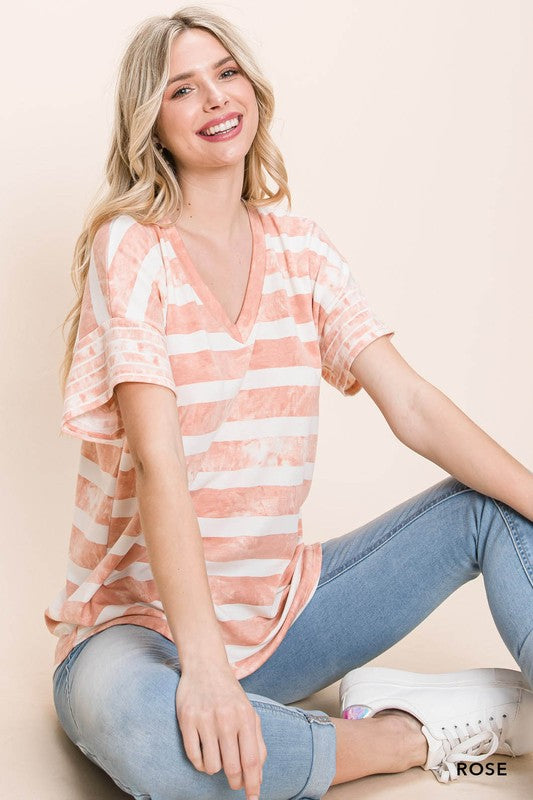 Comfy & Cute Striped Tee - Rose