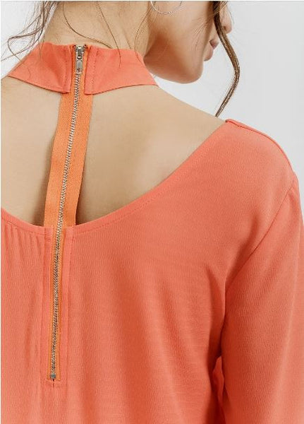 Coral Choker Neck Blouse
