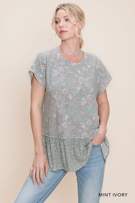 Paisley Mint Top