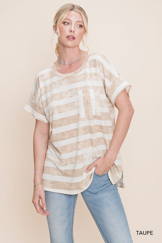Comfy & Cute Striped Tee - Taupe