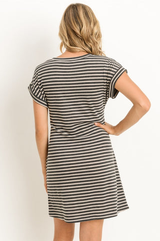 Charcoal Striped Dress