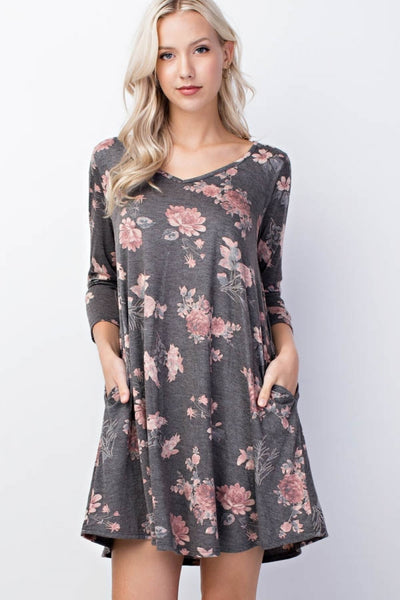 Graciously Wearing Grey and Floral Dress