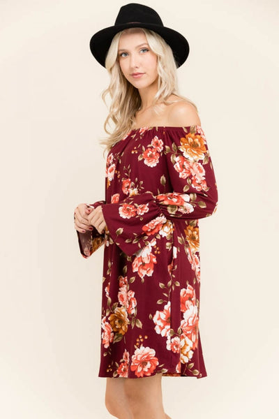 Beautiful In Burgundy Floral Dress