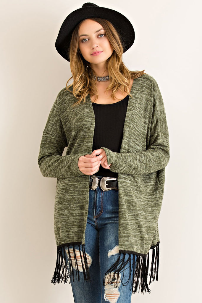 Caught in Fringe Olive Cardigan