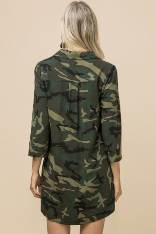 Camouflage Button-up Dress
