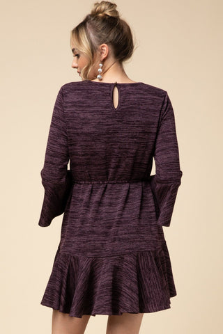 Purple Melange Knit Dress