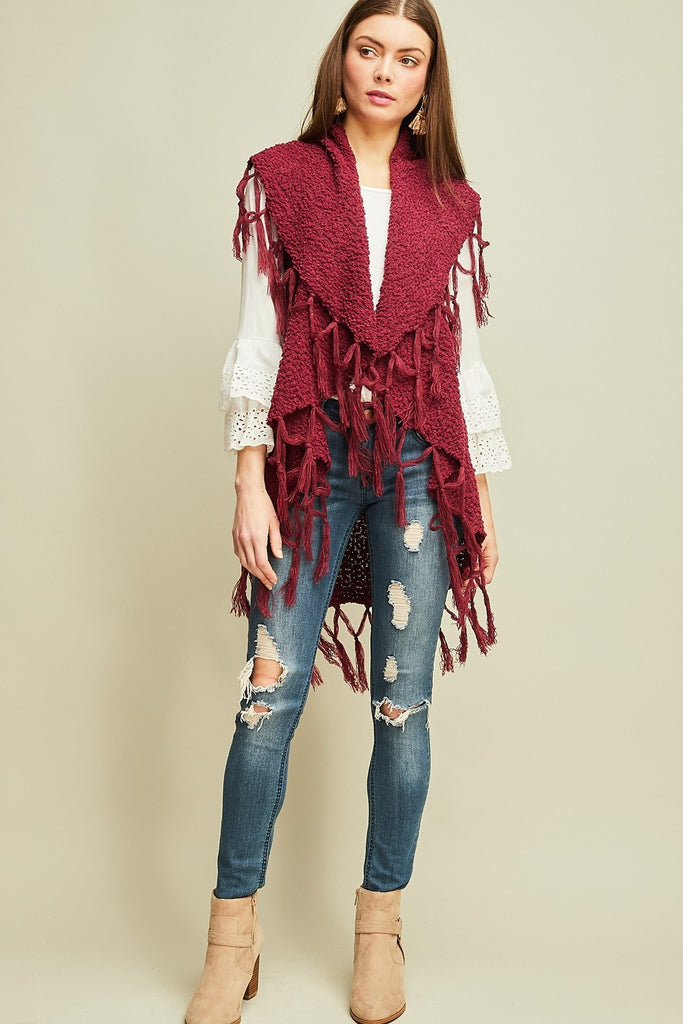 Feel The Fringe Burgundy Vest